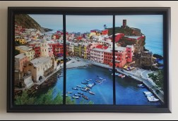 Overlook Vernazza Triptych on Metal in Modern